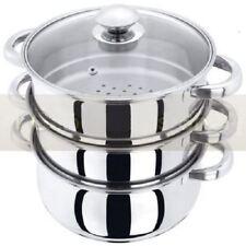 New 3pc 22cm Stainless Steel Steamer Cooker Pot Set Glass Lids 3 Tier Pan Cook