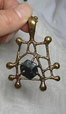Scandinavian Retro MidCentury Necklace Brutalist Bronze Modern Finnish Agate