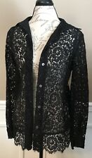 BARNEYS NEW YORK Lacey Open Knit Button Front Cardigan Blouse Size 12/46  *NWT*
