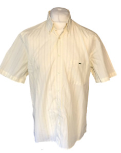 Men's Lacoste Casual Shirt Yellow Striped Size 42 Large 100% Cotton S/S