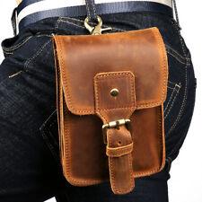 "Men Bag Leather Belt Pouch 6"" Mobile phone  Purse Fanny Waist Pack Cowhide Brown"