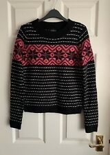 Topshop Black Pink And White Festive Jumper Size 8