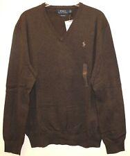 Polo Ralph Lauren Mens Brown 100% Pima Cotton V-Neck Sweater NWT Size S