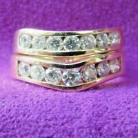 CLASSIC 14KT YELLOW GOLD 7 STONE CONTOUR DIAMOND WEDDING BANDS RINGS 1.50 CTTW