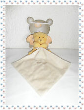 ☺ - Doudou Semi-plat Peluche Ours Jaune/Orange Beige  avec Mouchoir  Baby Nat