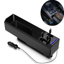 Dual USB Storage Box Organizer+3pcs Charger Cable Fit For Front Car Seat Gap