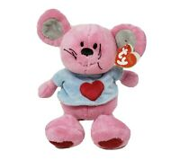TY PLUFFIES 2005 PATTER BABY PINK MOUSE W/ SHIRT STUFFED ANIMAL PLUSH TOY W/ TAG