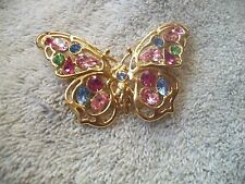 NOLAN MILLER Signed Blue Pink Crystal BUTTERFLY Goldtone GORGEOUS Free Ship