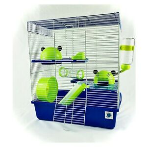 Calypso Extra Large 51 cm Syrian Dwarf Hamster Cage Blue and Lime Green 3 Storey