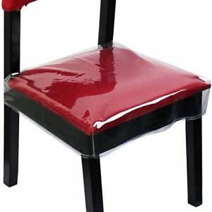 Chair Covers Clear Plastic Protector Waterproof Dining Kitchen Removable 2 Pack