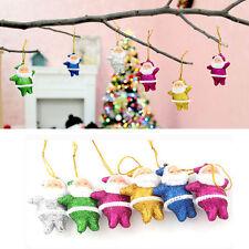 6pcs Glitter Christmas Santa Claus Ornaments Party Xmas Tree Hanging Decor new