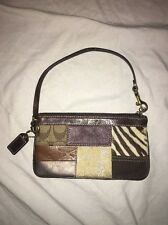 Coach Limited Edition Patchwork Brown Leather Slim Wristlet