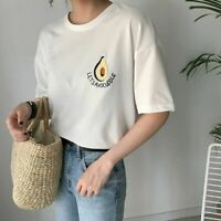 Cute Women Tshirt Summer Short Sleeve T-shirt Avocado Embroidery Casual Tops