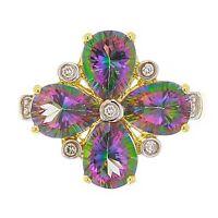 14k Yellow Gold 0.10ctw Mystic Topaz & Diamond Flower Cluster Ring Size 7