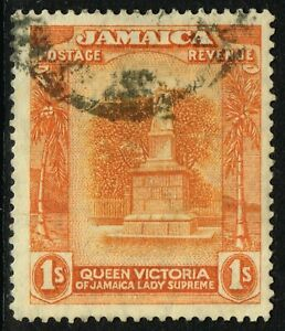 SG 85 JAMAICA 1920 - 1s ORANGE-YELLOW & RED-ORANGE - USED