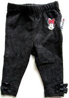 Disney Junior Minnie Mouse Girls Black Pants Bottoms Newborn Bows Glitter