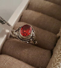 Lab-Created Solitaire Ruby Sterling Silver Fine Rings