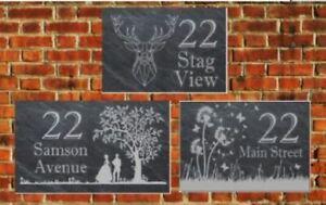 Rustic welsh Personalised Slate Door Gate Plaque number name plate Sign
