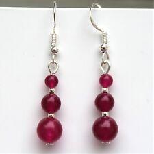 Rose Jade Gemstone Earrings With Sterling Silver Hooks New Drop Dangle LB219