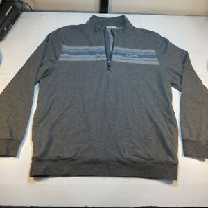 TRAVIS MATHEW 1/4 ZIP GOLF PULLOVER JACKET Sz Mens XL Gray w Blue Stripe