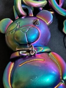 NWT COACH  Blue Teddy Bear Key Ring Bag Charm Key Chain 3D Hologram 87166