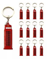 12 BRITISH MINIATURE LONDON KEY RING  DIECAST PHONE BOX KEYCHAIN SOUVENIRS