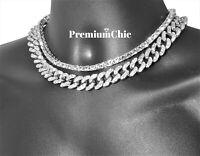 14k Silver Tennis Chain & Miami Cuban Choker SET Hip Hop Mens Quavo Necklace