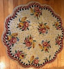 Vintage Mackenzie Childs Floral Scalloped Edge Area Rug