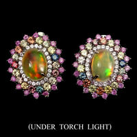 Unheated Oval Fire Opal Ruby Sapphire Diamond Cut 925 Sterling Silver Earrings