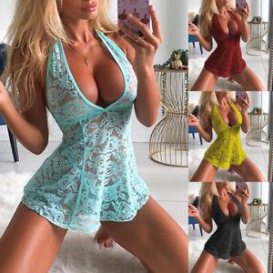 Sexy Women's Lingerie Floral Lace Sleepwear Underwear Dress See-Thru Babydoll US