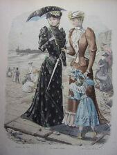 """51/ GRAVURE DE MODE """" Moniteur de la Mode Paris 1891 """".   Grand format 36x26"""