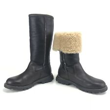 Ugg Boots Size 5 Brooks Brown Black Tall Leather Sheepskin Convertible