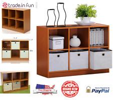 Bookcase Storage Cabinet Wooden Bookshelf 6-Cube Office Organizer 3 Bins Cherry