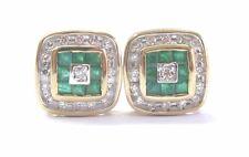 Fine Gem Colombian Green Emerald Diamond Yellow Gold Stud Earrings 1.16Ct 14KT