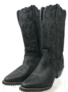 Shoes For Crews Womens Annie Western Cowboy Boots Black Leather Pointed Toe 8