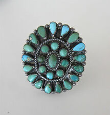Old Pawn Big Antique Zuni Petit Point Sterling Silver Turquoise Ring Blue