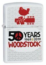 Zippo Woodstock 50th Anniversary, White Matte, Genuine Windproof Lighter #49012