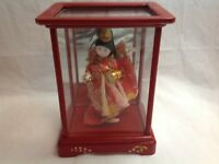 ANTIQUE c.1940 JAPANESE DOLL IN RED WOODEN BOX MADE IN JAPAN
