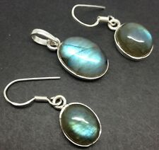 Labradorite oval Drop Earrings pendant Set, solid Sterling Silver, Actual One.