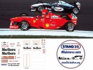 Decals marlboro Ferrari F300 Schumacher / Irvine 1998 pour Minichamps 1/43e