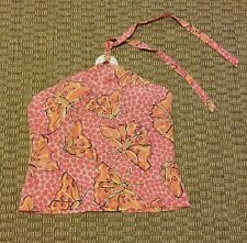 Lilly Pulitzer pink orange and yellow butterfly tankini swimsuit top size 6