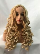 100% Real hair! New Fashion Gorgeous Women's Long Blonde Curly Human Hair wigs
