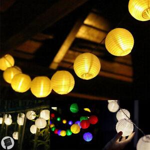 Lampions Lichterkette LED Solar bunt Party Beleuchtung Solarleuchte Außen Garten
