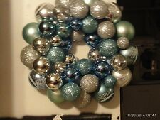 "Christmas ball ornament wreath 14"" bulbs Blue, Silver, Glittery Blue Handmade"
