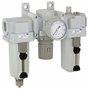 "PneumaticPlus Air Filter Regulator Lubricator 3/4"" NPT 250 PSI SAU400-N06G-MEP"