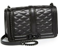 NWT ORG $295 REBECCA MINKOFF BLACK QUILTED LEATHER LOVE CROSSBODY SHOULDER BAG