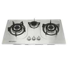 "30"" Stainless Steel 3 Burners Built-In Cooktop Ng/Lpg Gas Cooker Cooktops-Silver"