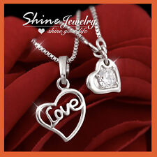 9K WHITE GOLD GF SIGNITY Diamond LOVE HEART CHAIN CHARM NECKLACE MOTHER DAY GIFT