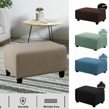 Footstool Slipcover Rectangle Footrest Protector Grid Storage Ottoman Cover L,Xl