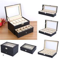 Uhrenkoffer Uhrenbox Uhren Kasten Aufbewahrungsbox für 6/10/12/20/24 Uhren TOP